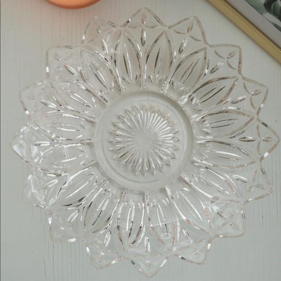 Vintage Clear Glass Petal Serving Bowl